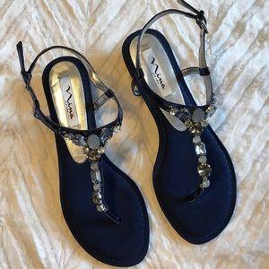 "Nina New York sandal 1"" heel blue with jewels NWOT"